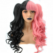 Anogol Hair Cap+Lolita Half Pink and Black Women's Wigs Long Wavy Cosplay Wig