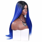 Aoert Straight Wig Long Ombre Wigs for Women Heat Resistant Synthetic Wig Cosplay Hair Replacement Wigs for Party, Prom 70cm Full Middle Part Wig