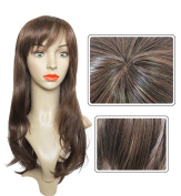 60cm Long Brown Wavy Wig Synthetic Hairpiece with Bangs Heat Resistant Fibre for Women by Namecute