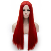 Red Long 70cm Straight Middle Part Heat Resistant Lolita Fashion Harajuku Cosplay Wig