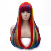 Rainbow Colour Long 80cm Straight with Fringe Heat Resistant Lolita Fashion Harajuku Cosplay Wig