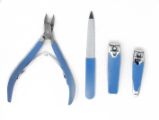 Manicure Set 4pcs, 2 Nail Cutter, Nail File, Podiatrist's Toenail Clippers by Fox Medical Equipment   Stainless Surgical Steel, Professional Quality For Thick and Ingrown Nails