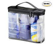 BeeChamp Dual Zipper Clear Toiletry Travel Bag Bath Accessories Organiser Kit with Handle