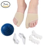 6 Pcs Toe Separators Spacers Straighteners Splint Aid Surgery Treatment with 1 Yoga Massage Ball ball