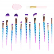 FIGHTART Makeup Brush Set Unicorn Design Brushes 12 Pcs Makeup Brushes + Silicone Sponge +Face Mask Brush for Foundation Eyebrow Blush Powder blender Cosmetic Concealer