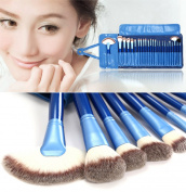 24pcs Makeup Brushes Sets Natural Hair and Synthetic Fibre with Leather Pouch BLUE
