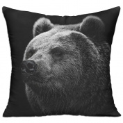 Bear Grizzly Bear Eyes Nose Square Stuffed 18 X 18 Accent Pillow