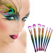 IGIA Metallic Mermaid Multicolor Eye Makeup Brushes - 7pcs Eyeshadow and Blush Brush Set