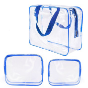 Clear Transparent Toiletry Bag, 3-1-1 Airport Airline Compliant Bag, Travel Quart Bag, Waterproof Carry On PVC Toiletry Bag for Women Men, 3 Bags A Set, 4 Colours