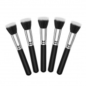 Mezerdoo 5pcs Full Size Powder Brush Skin Care Black Duo Fibre Stippling Brushes Flat Top Foundation maquillage Beauty Make Up Tools