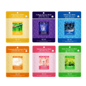 Skin Care Treatment Mask Pack Collagen, Snail, EGF, Placenta, Coenzyme Q10, Green Tea Essence Face Facial Mask Package 30 Pcs (5 Pack of Each) - Korean Cosmetic Facial Beauty