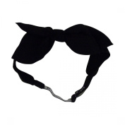Black Textured Bow Junior Girls' Headwrap