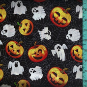 Halloween Ghost Jack-O-Lantern Spiderweb Cobweb Fabric Quilting Home Decor