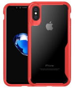 iPhone 8 Clear TPU Rubber Frame Cover,Superstart Soft HD Transparent Crystal Hybrid 2 in 1 Protective Shockproof Case for iPhone 8 in 2017--Red