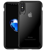 iPhone 8 Clear TPU Rubber Frame Cover,Superstart Soft HD Transparent Crystal Hybrid 2 in 1 Protective Shockproof Case for iPhone 8 in 2017--Black