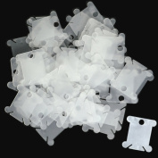 BronaGrand 100 Pieces Clear White Floss Bobbins Embroidery Thread Cards Cross Stitch Bobbin Plastic Thread Organiser