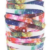 """3/8"""" 9MM Sky Colourful Fold Over Elastic Webbing Ribbons for DIY 20 Yards"""