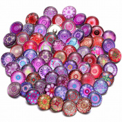 Pack of 30 Random Glass Snaps Buttons Charms 18mm for Interchangeable Ginger Snaps Charms Jewellery