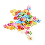 200 Pieces 2 Holes Cute Star Shape Assorted Colour Acrylic Plastic Buttons for Sewing Scrapbooking Embelishments Crafts By DINGJIN