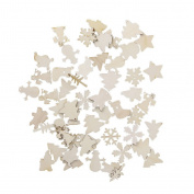 cici store 50Pcs Wooden Christmas Tree Deer Snowflake Shapes DIY Craft Decoration