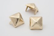 Pyramid Studs - Size 13 - Ideally used for Denim and Leather Work - Classic Two-Prong Studs - Available in Golden Colour - Pack of 500 studs and spikes