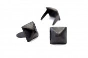 Pyramid Studs - Size 6 - Ideally used for Denim and Leather Work - Classic Two-Prong Studs - Black Coloured - Pack of 500 studs and spikes