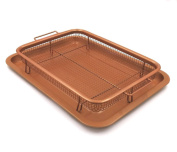 Gvode Copper Crisper as Oven Air Fryer- Multi-Purpose Non-Stick Baking Frying Tray & Basket on Stovetop, Grill and BBQ