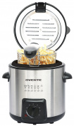 Ovente Deep Fryer with Removable Basket, Stainless Steel, Adjust Temperature Control, Non-Stick Interior, Personal Size (FDM1091BR)