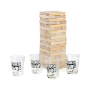 BESTOMZ Stacking Building Tower Drinking Game Wooden Blocks with Drinking Commands