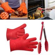 AMA(TM) Silicone Kitchen Cooking Gloves +Tong Heat Resistant Cooking Utensils Baking Tool