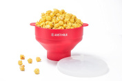 JustNile Collapsible Microwave Popcorn Popper with Bonus Recipe Book, Silicone Popcorn Maker for Healthy, Irresistible, Homemade Popcorn on Movie Night, or Any Night, 100% Free of BPA and PVC - Red
