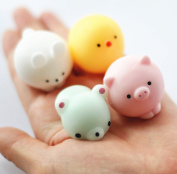FinerMe 4 Pcs Squishy Animals With Box Packages Mini Kawaii Chicken/Rabbit/Pig/Dove Soft Squishies Cute Animal Hand Toy Squeeze Stress Kids Toy Decompression Toy Christmas Birthday Gift
