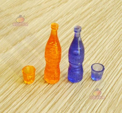 1:12 Dollhouse Miniature Kitchen Toy 4PCS Champagne Wine Drink Bottles+Cups Play Food