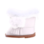 Dovewill 46cm Doll Flat Snow Boots Shoes for American Girl Our Generation Dolls Accessories White
