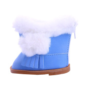 Dovewill 46cm Doll Flat Snow Boots Shoes for American Girl Our Generation Dolls Accessories Blue
