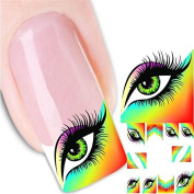 Full Nail Art Sticker MEIQING Beautiful Eyes Nail Stickers Nail Wraps Water Transfers Decals Manicure