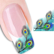 Full Nail Art Sticker MEIQING Peacock feathers Nail Stickers Nail Wraps Water Transfers Decals
