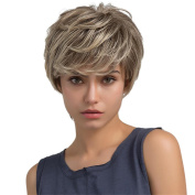 Dovewill Natural Women Girls Full Wigs Short Layered Real Human Hair Curly Wigs Cosplay Wig Beige Brown