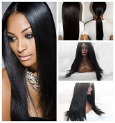 Meige wig #1B YaKi Silky Straight Wigs Synthetic Lace Front Wigs Heat Resistant Glueless for Women Synthetic Wigs 60cm