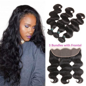 Ashimary Lace Frontal Closure with Bundles Body Wave Brazilian Virgin Hair 8a Unprocessed 100% Human Hair Body Wave 3 Bundles with Frontal