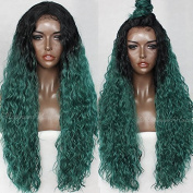 2018 Fahion Long Loose Curl Wigs180Density #1B & Green Colour Synthetic Lace Front Wigs 10%Human Hair+90%Fibre Lace Wigs For Women 70cm