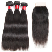 Peruvian Virgin Hair Straight with Closure Free Part 8A Unprocessed Straight Human Hair Weave with Lace Closure 3 Bundles Peruvian Straight Hair