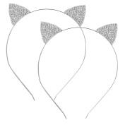 Hotop 2 Pack Crystal Rhinestone Metal Cat Ear Headband Hair Bands Headwear for Women Girls Hair Accessories