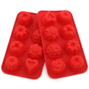 Zicome Silicone Bath Bomb Soap Making Mould, Red, Set of 2, Flower and Heart Shape
