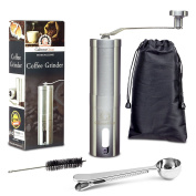 Premium Quality Manual Coffee Grinder Mill By Gabone Gear - Ergonomic Shape - Made Of Stainless Steel With Conical Ceramic Burr - Easily Adjustable - Click Feature With 8 Different Grind Settings