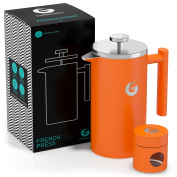 Large French Press Coffee Maker – Double Filter, Vacuum Insulated Stainless Steel – With Mini Canister and eBook – By Coffee Gator - 1010ml – Orange
