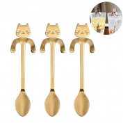 Elibeauty Coffee Spoon, Stainless Steel Cat Dessert Spoon Drink Spoons Mixing Spoon Milkshake Spoon Tableware Kitchen Supplies 3PCS