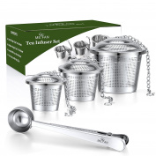 ME.FAN Tea Infuser Set - Premium Stainless Steel Tea Strainers - Included Loose Leaf Tea Filters (Set of 3) & Tea Scoop with Bag Clip - Best Gift for Tea Lover