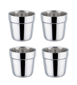 TeamFar Stainless Steel Coffee Tea Cup Mug Set of 4, Insulated Double Wall Hot Cups, Reusable Stacking Drinking Cup, Small 180ml - Dishwasher Safe