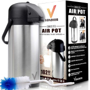 ONE DAY SALE! - Thermal Coffee Airpot - Beverage Dispenser (3020ml) By Vondior - Stainless Steel Urn For Hot/Cold Water Or, Pump Action, Party Thermos Carafe, Bunn Cleaning Brush Bonus, Lid Pitcher